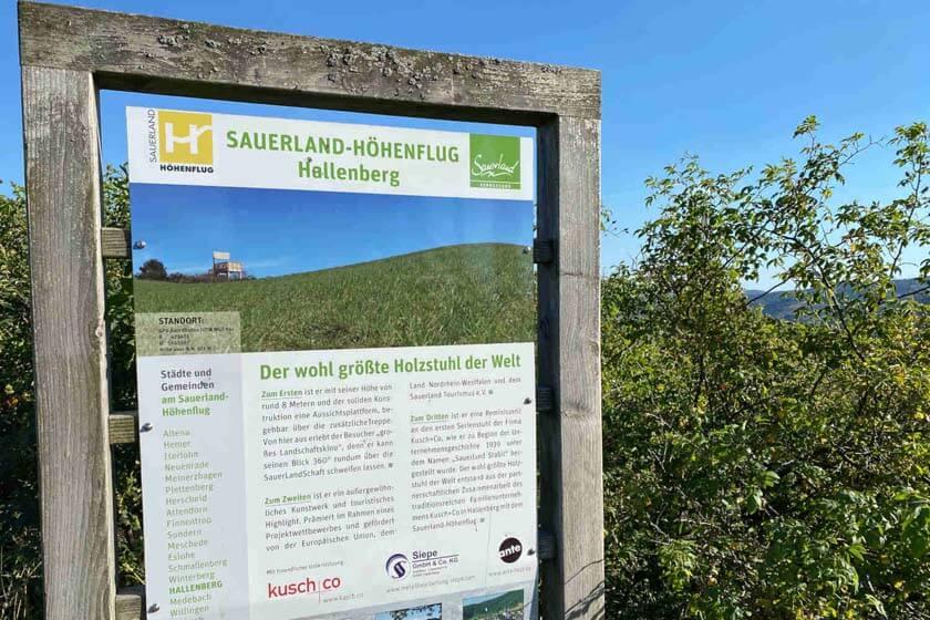 Sauerland Höhenflug Karte mit Erklärungen über den Sauerland Stabilstuhl